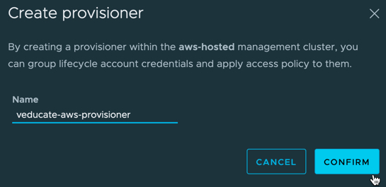 TMC - aws-hosted - provisioners - create provisioner - provide name