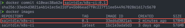 docker commit container_id tag - docker images