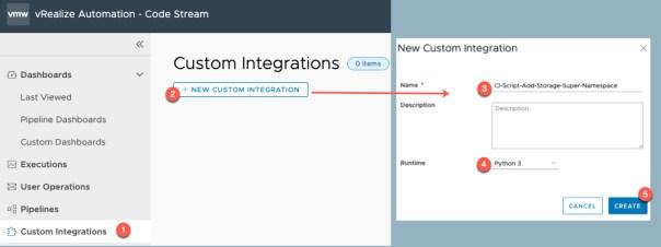 vRA Deploy Tanzu Guest Cluster - Code Stream - Create Custom Integration