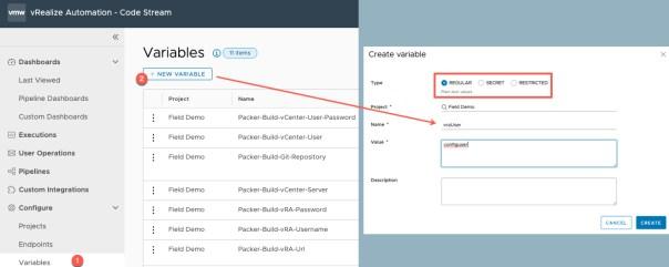 vRA Deploy Tanzu Guest Cluster - CodeStream - Create Variables