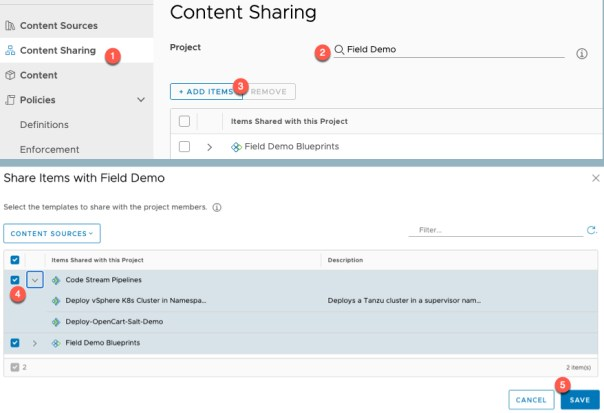 vRA Deploy Tanzu Guest Cluster Service Broker Content Sharing settings