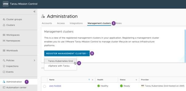 Tanzu Mission Control - Administration - Register Management Cluster - Tanzu Kubernetes Grid