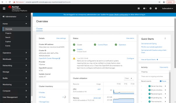 vRA Deploy Openshift - OpenShift Console