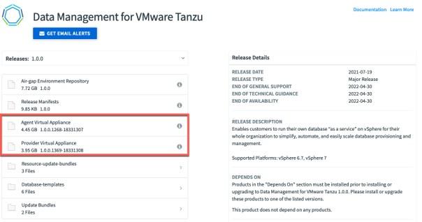 Tanzu Network - Download appliances