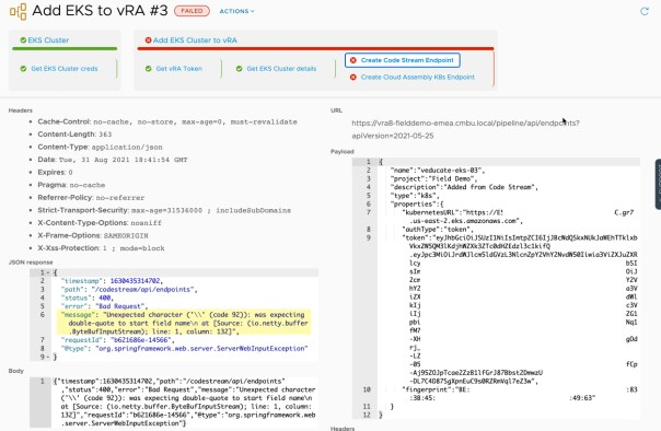 vRA 8.5 Code Stream - Unexpected character was expecting double-quote to start field name - Error
