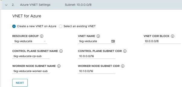 Deploy Management cluster to Azure - Azure VNET Setting