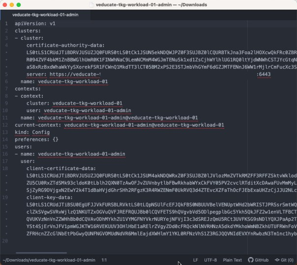 Deploy Tanzu Kubernetes Guest cluster to Azure - tanzu cluster kubeconfig get --admin --export-file - output screenshot