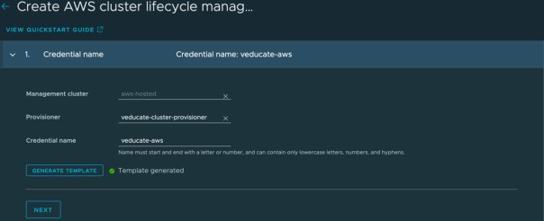 TMC - Create AWS cluster lifecycle management provider credential - Credential Name