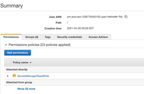 TKG AWS ARN Access - Add Secrets Manager