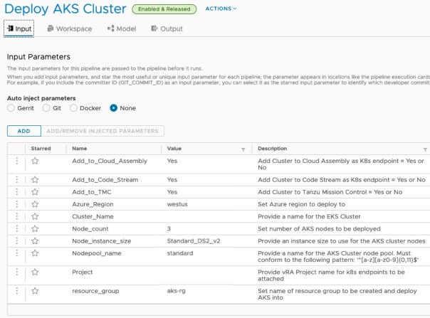 vRA AKS TMC - Code Stream - Input - Set defaults