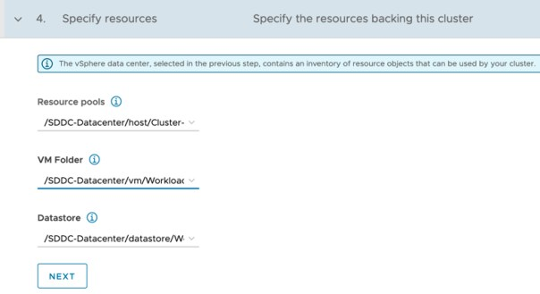 Tanzu Mission Control - Clusters - Create Cluster - Specify Resources