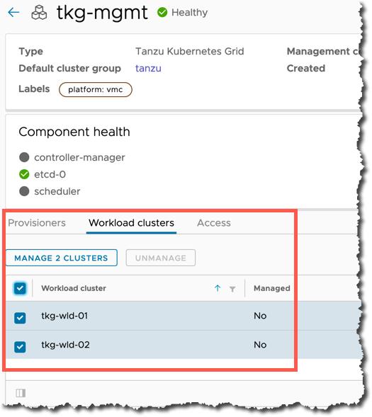 Tanzu Mission Control - Management Cluster - Register existing workload clusters