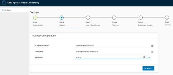 Data Management for Tanzu - Agent onboarding - vCenter Configuration