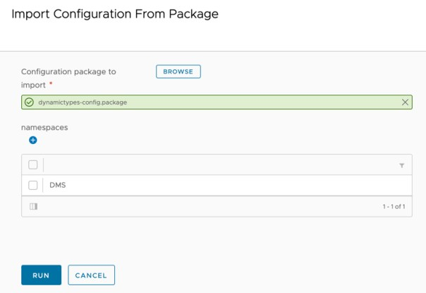 DMS - vRO Workflow - Import Configuration From Package