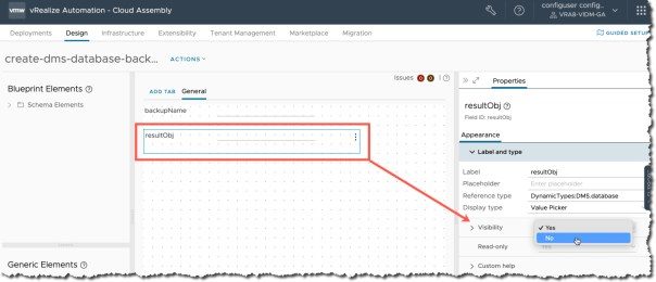 vRA Custom Resources - Create New Custom Resource - Day 2 action - Request Parameters - Set resultObj visibility to no