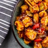 Glasierter Tofu mit süß sauer Soße