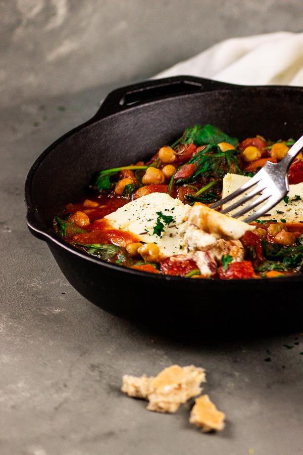 vegan-feta-chickpea-spinach-skillet