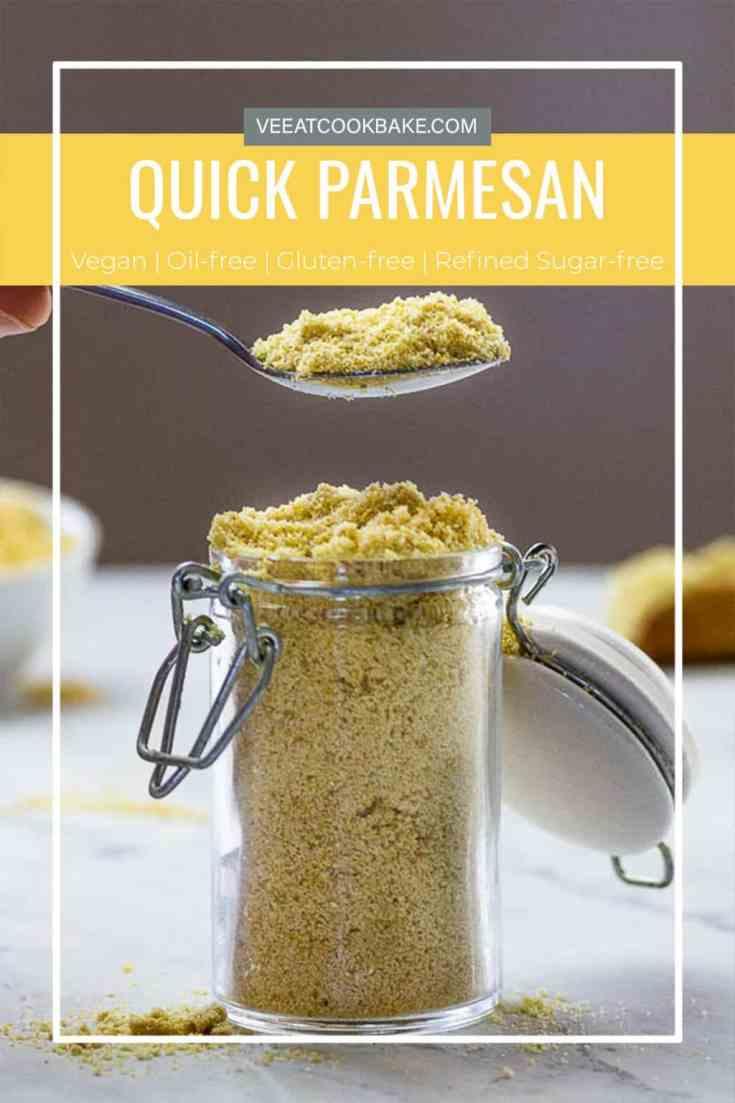 Mit diesem veganen Parmesan erhälst du nicht nur ein schnell zubereitetes Rezept. Diese Parmesanalternative schmeckt authentisch und hat diesen typischen käsigen Geschmack. Du erhälst hier ein veganen Käse der sich lange hält und um einiges günstiger ist als der herkömmliche Parmesankäse. Und das beste an diesem veganen Parmesan Rezept er ist nicht nur gesünder, sondern auch gluten-, milch- und auf Wunsch nussfrei