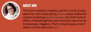 "biografía profesional de Ann Handley en su sitio web personal ""width ="" 640 ""style ="" width: 640px; ""srcset ="" https: // blog. hubspot.com/hs-fs/hubfs/ann-handley-website-bio.png?t=1525919548075&width=320&name=ann-handley-website-bio.png 320w, https://blog.hubspot.com/hs-fs /hubfs/ann-handley-website-bio.png?t=1525919548075&width=640&name=ann-handley-website-bio.png 640w, https://blog.hubspot.com/hs-fs/hubfs/ann-handley- website-bio.png? t = 1525919548075 & width = 960 & name = ann-handley-website-bio.png 960w, https://blog.hubspot.com/hs-fs/hubfs/ann-handley-website-bio.png?t = 1525919548075 & width = 1280 & name = ann-handley-website-bio.png 1280w, https://blog.hubspot.com/hs-fs/hubfs/ann-handley-website-bio.png?t=1525919548075&width=1600&name=ann- handley-website-bio.png 1600w, https://blog.hubspot.com/hs-fs/hubfs/ann-handley-website-bio.png?t=1525919548075&width=1920&name=ann-handley-website-bio.png 1920w ""tamaños ="" (ancho máximo: 640px) 10 0vw, 640px"
