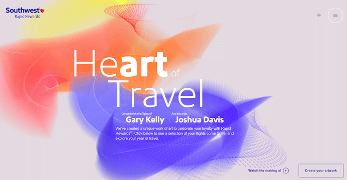 Página de inicio de Heart of Travel de Southwest Airlines, un sitio web galardonado