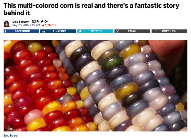 Ejemplo de publicidad nativa en Business Insider sobre Glass Gem Corn
