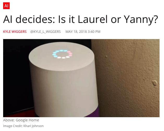 Ejemplo de publicidad nativa de VentureBeat en Laurel vs. Yanny meme