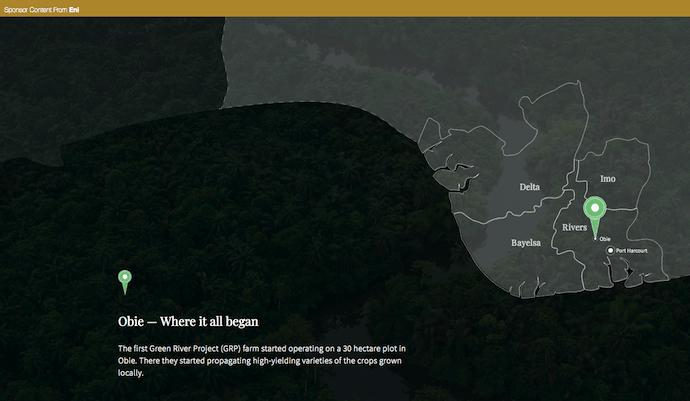 Ejemplo de publicidad nativa de Eni Energy en el Green River Project en el delta del Níger