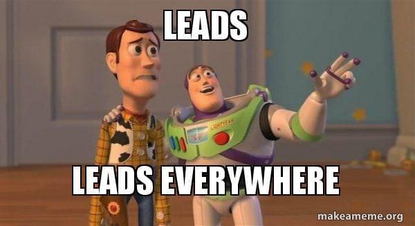 Buzz Lightyear meme con subtítulos sobre leads