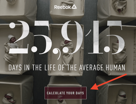 Gráfico de la campaña de video marketing de Reebok llamado 25,915 Days