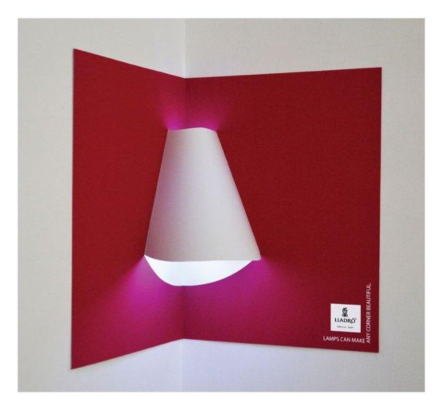 Anuncio publicitario interactivo de Lladro Lighting con pantalla incluida en el pop-up book