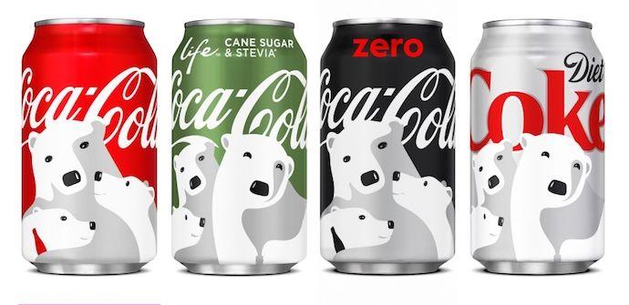 Diseño del logotipo de Coca-Cola con colocación versátil en cuatro latas de diferentes colores.