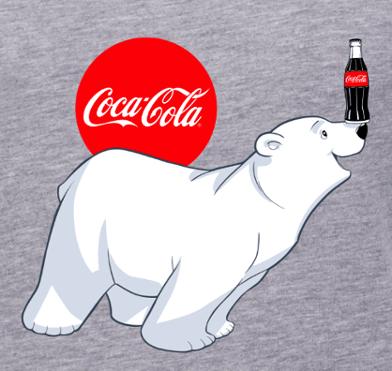Diseño de logotipo de Coca-Cola con oso polar sobre fondo gris