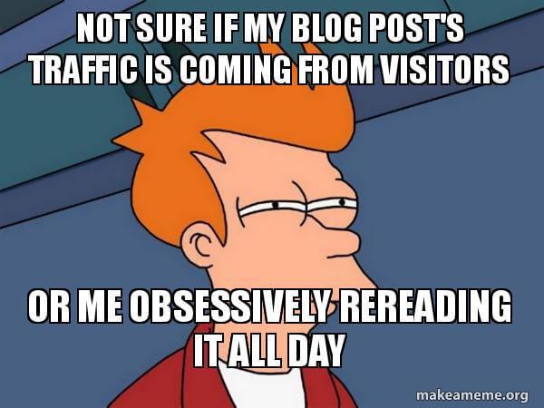 Futurama Fry meme con subtítulos sobre el tráfico de blogs