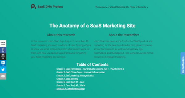 Página del pilar sobre la anatomía de un sitio de marketing de SaaS por ProfitWell