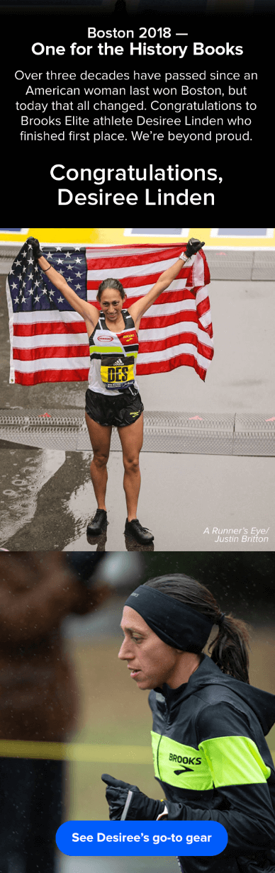 Campaña de marketing por correo electrónico sobre la victoria del Maratón de Boston 2018 de Desiree Linden por Brooks Sports