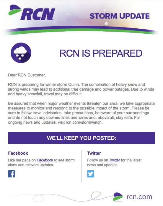 """Campaña de marketing por correo electrónico sobre actualizaciones de tormentas invernales por RCN """"width = """"552"""" style = """"width: 552px"""