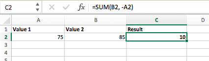 Fórmula de resta en Excel