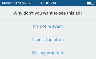 """Pregunta preguntándole por qué no desea ver anuncios en Instagram"""" title = """"Pregunta preguntando por qué no desea ver anuncios en Instagram"""" width = """"400"""" style = """"width: 400px"""