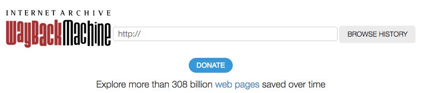 """Wayback Machine banner del sitio web y barra de búsqueda """"title ="""" waybackbanner.png"""