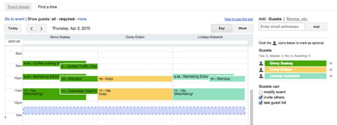 Busque una función de hora en el Calendario de Google, con horarios de eventos para tres invitados al evento