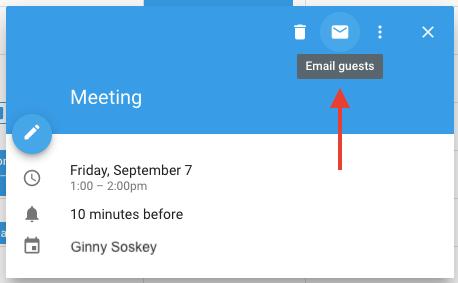 """Icono de sobre en el evento Google Calendar para enviar un correo electrónico a los invitados sobre una reunión """"width ="""" 458 """"style ="""" width: 458px; margin-left: auto; margin-right: auto"""