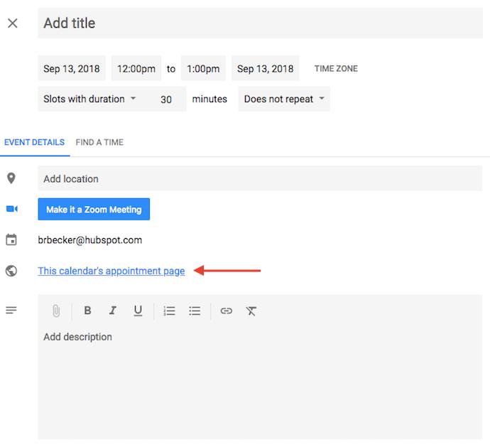 "Enlace a la página de citas de Google Calendar ""width ="" 690 ""style ="" width: 690px"