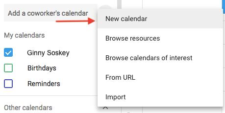 Menú desplegable para crear un nuevo calendario en Google Calendar