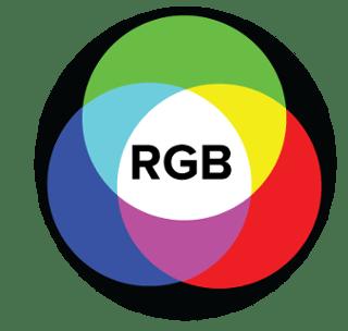 Modelo de color aditivo con RGB en el centro