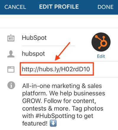 Enlace en la biografía de la cuenta de Instagram de HubSpot