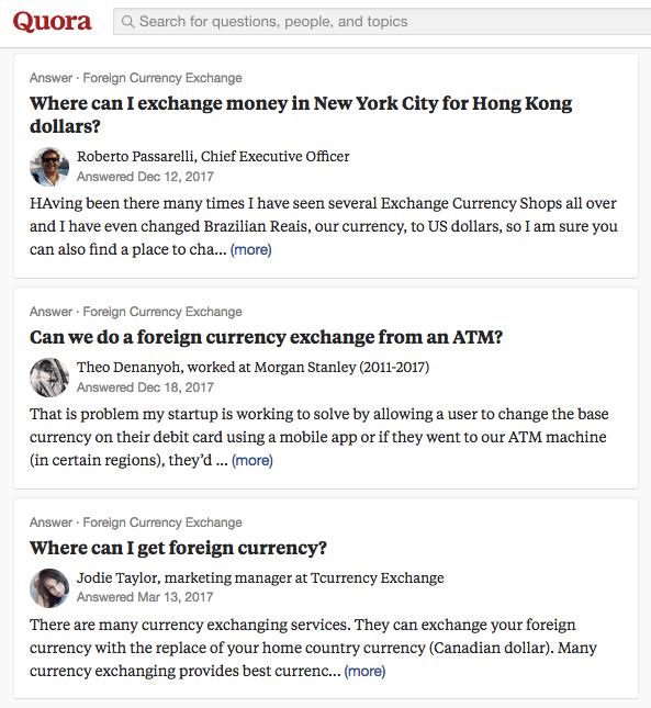 Preguntas del Grupo de Quora sobre el cambio de moneda extranjera