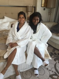 luxuriating in our super comfy robes. bangalore, india. october 2015.