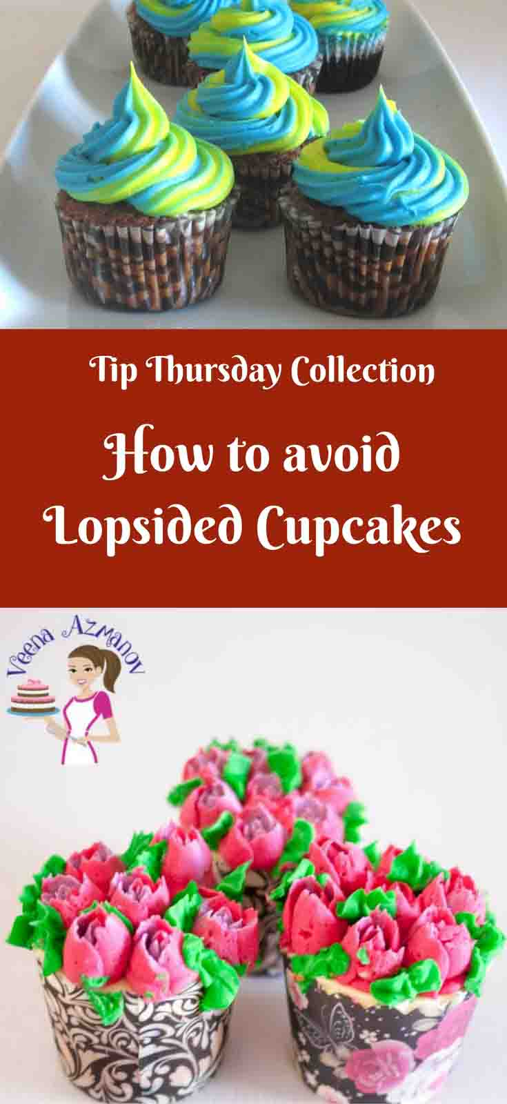 One of the problems with cupcake baking can be lopsided, wonky, uneven baked cupcakes which can be very frustrating. Here are some tips to help trouble shoot and figure out what could be the possible cause.