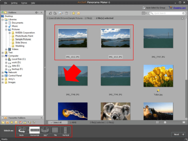 Arcsoft Panorama Maker Interface