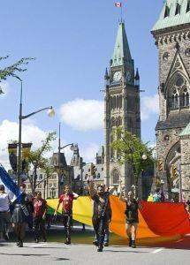 Ottawa Pride Parade with Rainbow Flag